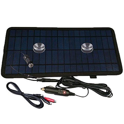 NUZAMAS Cargador de batería solar, 8,5W 12V, para coche todoterreno Camión Barco caravana, viene con USB, pinzas de cocodrilo y...