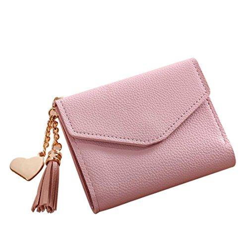 Handtasche Damen Btruely Kurze Brieftasche Quaste Mädchen Leder kleine Mini Brieftasche Halter Zip Geldbörse Clutch Handtasche Lange Geldbörse Leder Brieftasche (Rosa) - Leder Mini-clutch