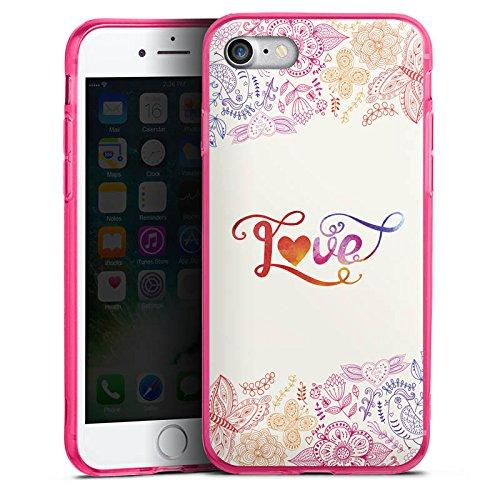 Apple iPhone 8 Silikon Hülle Case Schutzhülle Love Sprüche Schmetterling Blumen Silikon Colour Case pink