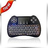 Mini Wireless Tastatur, Weiß Hintergrundbeleuchtung Maus Combo mit Touchpad, Multi Media Fernbedienung Handheld Mäuse für Android TV Box, PC, Xbox, PS3, Schwarz