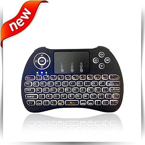 (2017Nouveau modèle) rétroéclairage Blanc Mini clavier sans fil avec Touchpad Mouse, batterie au lithium rechargeable USB Handheld Keybord pour des jeux pour Smart TV, Android TV Box, ordinateur portable, Xbox, PS4, PC, Noir