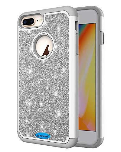 JanCalm Glitzer-Schutzhülle für iPhone 6 Plus/6S Plus/7 Plus/8 Plus, modisch, glitzernd, zweilagig, Hybrid, stoßfest, für Mädchen, Frauen, mit Kristallstift, grau (Entsperrt Iphone 6 Plus)