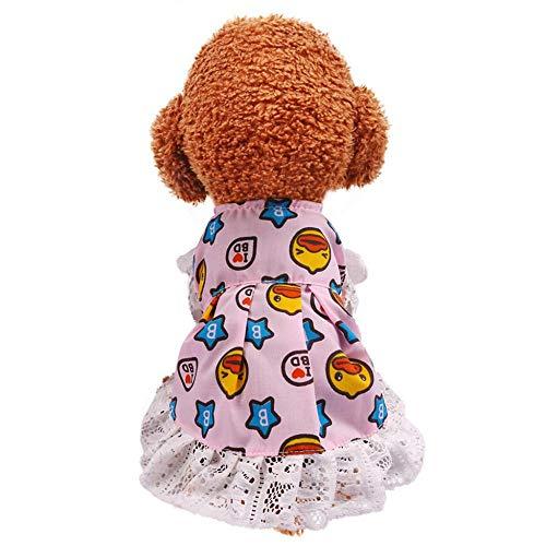 Doublehero Prinzessin Kleider Hund Welpen Katze Tutu Rock Hochzeit T-Shirt Puppy Niedlich Kurzarm Spitze Kleidung Vintage Bekleidung Hustierkostüm für Feste Halloween Weihnachten Pulli (XL, Rosa)