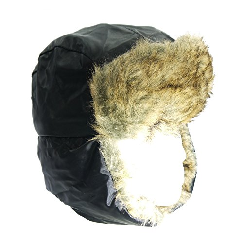 MENS LINED WATER PROOF BOMBER RUSSIAN TRAPPER WINTER HAT WARM FAUX