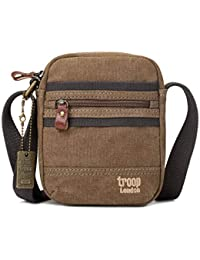 Troop London Canvas Leather Cross Body Bag, Small Travel Bag TRP0454 Brown c02aa91d29