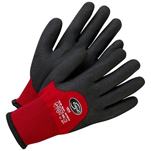 Baumwollhandschuhe Präzisionshandschuhe Handschuhe Yeti rot-schwarz - Größe 9 (Handschuhe Pvc-beschichtete Schwarz)