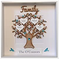 Personalised Family Tree 3D Box Frame Picture Keepsake Wedding Gift Home Christmas Birthday Anniversary Mothers Day Turquoise Gem Birds Up To 14 Names