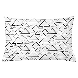Icndpshorts Geometric Throw Pillow Cushion Cover, Hand Drawn Triangles Creative Abstract Minimalist Urban Style Artisan Print, Decorative Square Accent Pillow Case, 18 X 18 Inches, Black White
