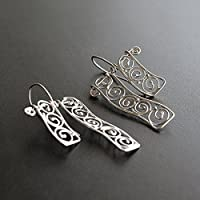 Spiralförmige Ohrringe, Antike griechische Art 925 Sterling Silber baumeln Ohrringe für Frauen, Ohrhänger handgefertigt von Emmanuela