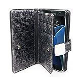 Cassa della galassia S7, Arium [Blu Zaffiro] Caso Premium Portafoglio copertura diario di pelle [grigio scuro] PU + cinturino da polso Lanyard per Samsung Galaxy S7