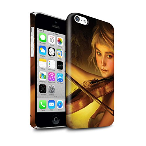 Officiel Elena Dudina Coque / Clipser Brillant Etui pour Apple iPhone 5C / Violoncelle/Nuages Design / Réconfort Musique Collection Beauté/Violon