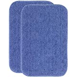 HOMEBEST Anti Slip Microfiber Bath Mat, Blue (38x58 cm. Set of 2)