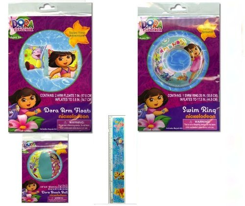 4-piece Dora the Explorer Pool Toys Swim Set : Dora Beach Ball (12), Dora Swim Ring (20), Dora the Explorer Floaties (7), and Ruler with Disney Winnie the Pooh by AdOneGifts