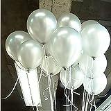 Seguryy Sachet de 100 Ballons Nacrés Perle Latex�10pouces Ballons Décoration pour Anniversaire Mariage Soirée Partie (blanc nacré)