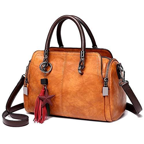 Ailihan Große Tasche Umhängetaschen Boston Tasche Handtasche Leder Dame große Kapazität