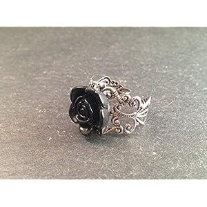 Ring Silber Rose Schwarz