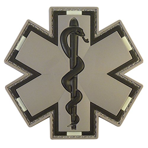 ACU Gray EMS EMT Medic Paramedic Star of Life Morale Tactical PVC 3D Hook-and-Loop Patch