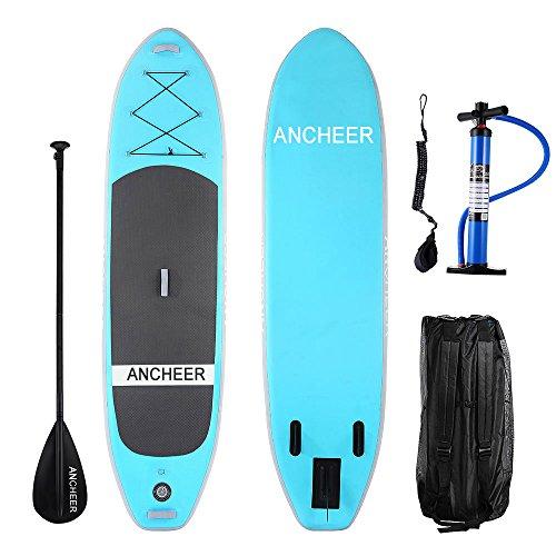 YUEBO 305cm Aufblasbares SUP Stand-up Paddel Board 15cm Dickes, iSUP Paddle Board mit Doppelhub-Pumpe + 3-tlg. verstellbares Paddle + grosse Tragetasche (AS10_blau upgrade_305 x 81 x 15cm)