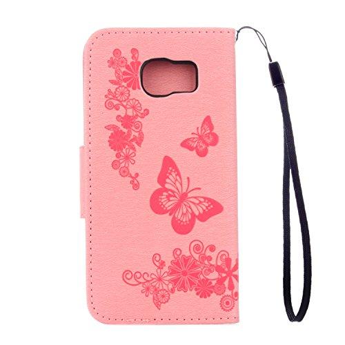 Cover Samsung Galaxy S7 Edge, Alfort Custodia Protettiva in Pelle Verniciata Goffrata Farfalle e Fiori Alta qualità Cuoio Flip Stand Case per la Custodia Ci sono Funzioni di Supporto e Portafoglio Chi Rosa