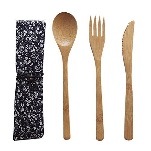 BESTONZON 4 stücke Bambus Gabeln Löffel Schneider Set Japanischen Stil Holz Besteck Utensilien Geschirr für Abendessen Grill