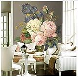 3D Tapete Benutzerdefinierte 3D Fototapeten Europäischen Malerei Floral Wandbild TapetenFür Schlafzimmer Wohnzimmer Tv Wand Wohnkultur Seidenstoff 400X280Cm,Yzra