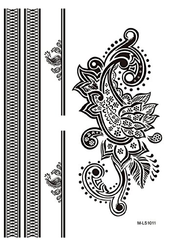 Orientalische Blättern (Mls1011 - Fake Tattoo für den Körper - Arme - Knöchel - Handgelenk - Bein - Bein - Schulter - Zurück - Orientalisch - Blumen - Blätter - Griechisch - Frau)