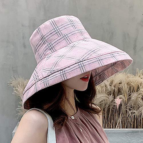 WGYXM Hut, Damen Sommer Plaid Big Visor Sonnenhut UV-Schutz Fischerhut, pink, M -