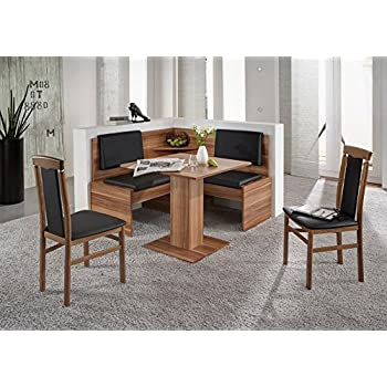 eckbankgruppe jonny eckbank tisch sitzgruppe k che esszimmer walnuss dekor schwarz amazon. Black Bedroom Furniture Sets. Home Design Ideas