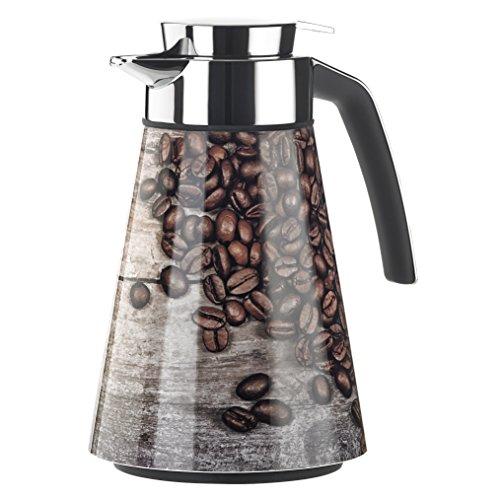 Emsa 514592 Isolierkanne, Edelstahl, 1 Liter, Aroma Diamond, Quick Tip Verschluss, Decor: Coffee, Cone