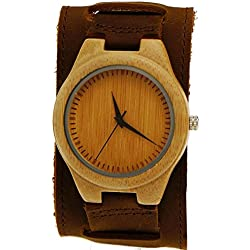 'Pure Time® Designer Unisex Organic Brown Leather Watch-Limited Edition incl. Watch Box