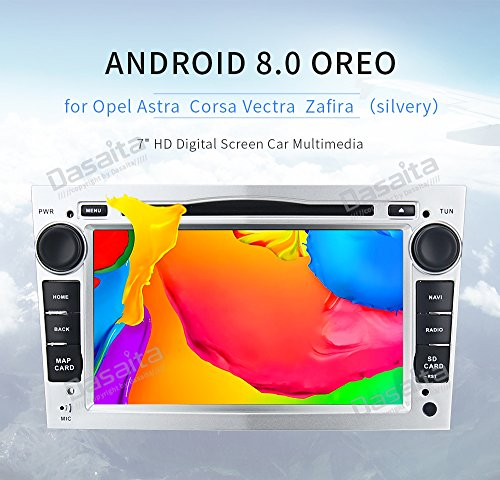 dasaita 17,8 cm Quad Core 4 GB 32 GB Android 8.0 Auto Stereo GPS Doppel DIN DVD Head Unit für Vauxhall Combo Antara Opel Corsa Vectra Astra Meriva Zafira GPS Navigation mit Bluetooth Wifi Support Lenkrad Spiegel Link Subwoofer OBD TMPS DVR (inkl. 8 g-Karte & Update) Silber (Combo Dvr)