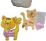 Unbekannt Bastelset: Plüschtier Filz Katze zum Sticken, Nähen per Hand Komplett Set - Filzset zum Basteln Handarbeiten mit Zubehör