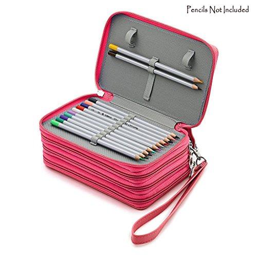 Niutop 72 PU Leder Buntstifte Federmäppchen Mit Reißverschluss Großer Kapazität Bleistiftkasten Stationary Pouch Makeup Case Kosmetiktasche (Rosa)