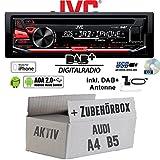 Audi A4 B5 Aktiv - JVC KD-DB67 - DAB+ USB Autoradio inkl. DAB+ Digitalradio Antenne - Einbauset
