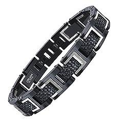 Idea Regalo - COOLMAN - Bracciale da uomo, Braccialetto in acciaio inossidabile 316L, Dimensione regolabile 20-22 cm, con GRATUITO Gift Box, Serie RacingLegend (argento + nero)