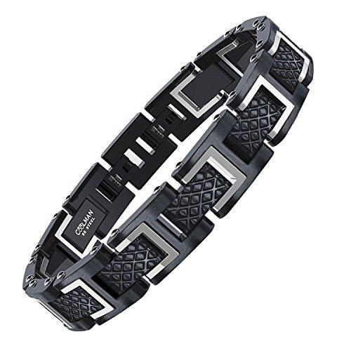 COOLMAN Herren Armband Edelstahl Armbänder für Männer Größe einstellbar 20-22 cm, Rennlegende-Serie, Silber Schwarz