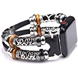 Compatible with Boho Fancy Apple Watch Band - Multilayer Leather Bracelet Vintage for Apple Watch Series 5/4/3 (2 Straps Blac