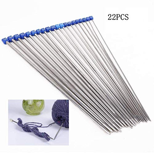 Dproptel Knitting Needles,Stainless Steel Single Pointed Knitting Needles Kit Set Sweater Staight Needle in Different Sizes (11pirs,22pcs,36cm Length)