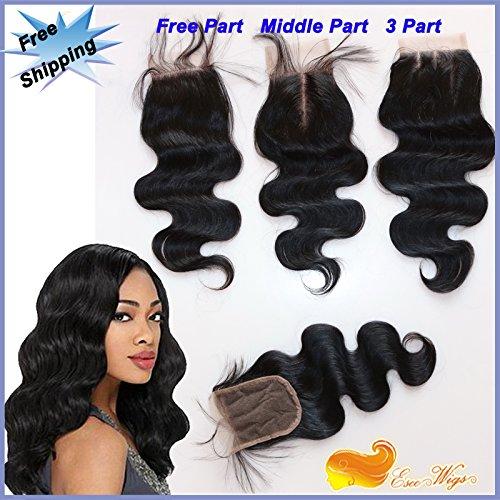 Eseewigs Lace fermeture Human postiches cheveux pour les femmes avec cheveux clairsemés Fermeture dentelle de vague de corps brésilien