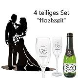4-Teiliges Geschenkset zur Hochzeit Mr&Mrs/Metall-Figur Brautpaar/Piccolo Sekt Just Married/Sektgläser-Set Mr&Mrs/Hochzeit / Hochzeitsgeschenk
