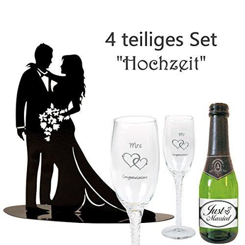 4-Teiliges Geschenkset zur Hochzeit Mr&Mrs / Metall-Figur Brautpaar/Piccolo Sekt Just Married /...