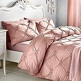Signature Elissa' Delicate 100% Baumwolle, Classic Gerüschte Rosette verziert Bettbezug-Set, Einzelbett, Altrosa, baumwolle, blush, Einzelbett