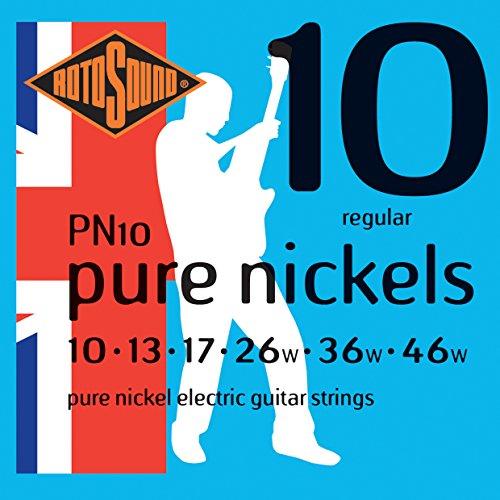 Rotosound Pure Nickel Saiten für E-Gitarren, Regular, Stärke 10 13 17 26 36 46 (Rotosound E-gitarre Saiten)