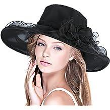 DAFUNNA Donne Cappello tesa larga organza cappello di estate floreale  Elegante pieghevole matrimonio Cappello 763a321df46e