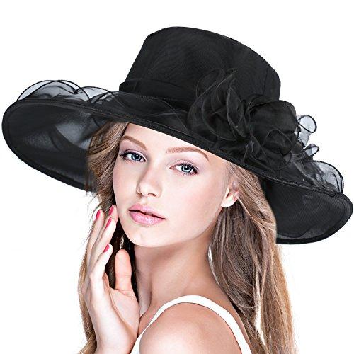 DAFUNNA Sombrero de ala ancha mujer Kentucky de organza para bodas diseño. af6885c1d64c