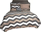 Beco Home Comforter, Chevron (Grey/Taupe), Twin, Twin/Twin XL