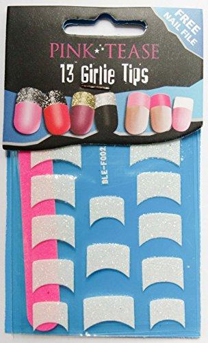 Rose Tease Nail Foils Lot de 13 Pointe pour embouts – blanc brillant