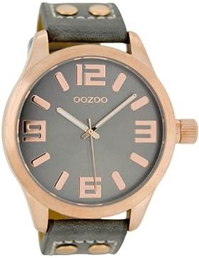 Oozoo C1153–Uhr für Frauen, Leder-Armband Grau
