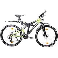 """28"""" Zoll MTB BIRIA Cross Fully Fahrrad 21 Gang Shimano Disc StVZO Schwarz Grün"""