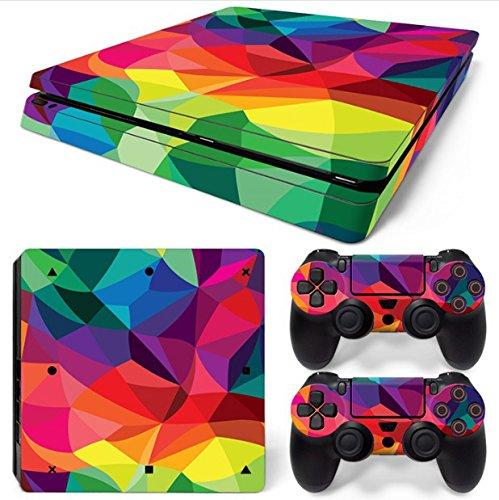 Mcbazel Vinyl Sticker Proteggi per console e controller, skin sticker per PS4 Slim Colorful Kaleidoscope